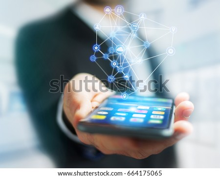 View of a Business network connection displayed on a futuristic interface with technology icon - Worldwide business concept