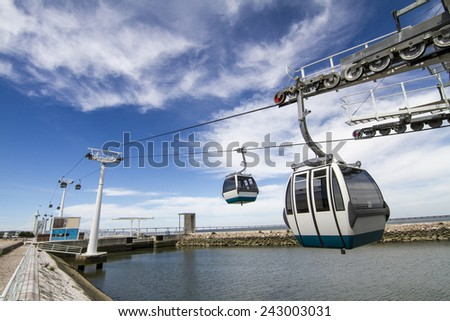 View of a cable car located in Lisbon, Portugal. - stock photo