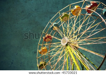 View of a carnival ferris wheel textured for a grunge effect.
