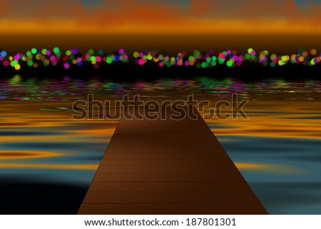 View of a city at dusk from the deck  - stock photo