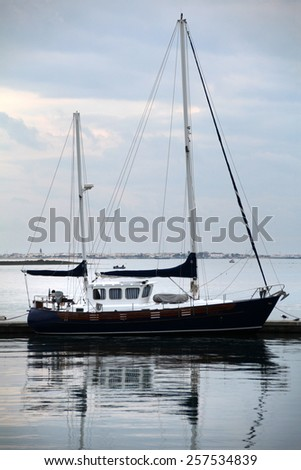 View of a classical luxurious boat used for recreational vacations.  - stock photo