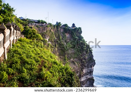 view of a cliff in Bali Indonesia. - stock photo
