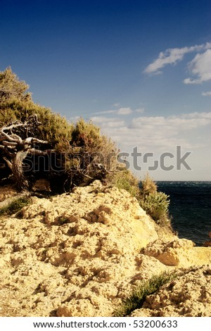 View of a cliff in Marseilles, France