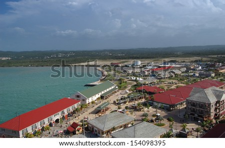 view of a coastal town seen from above