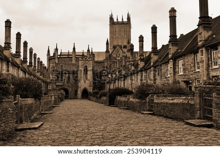 View of a Cobblestone Street in an Old English City - stock photo