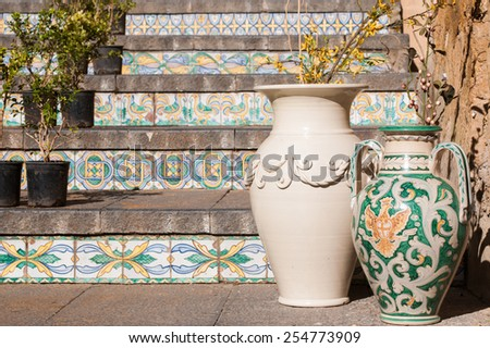 View of a colored ceramic vase from Caltagirone in its famous staircase - stock photo