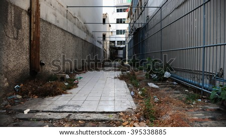 View of a Deserted Alleyway in Bangkok Thailand - stock photo