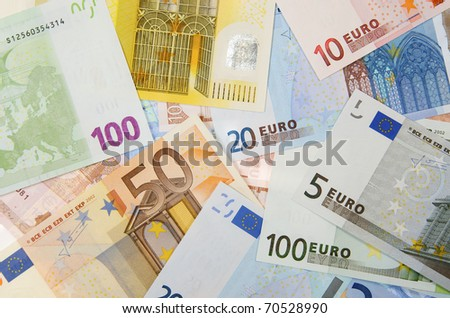 view of  a diverse group of  European banknotes - stock photo