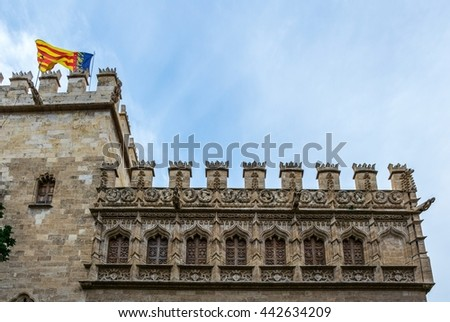 view of a facade of the Old Silk Exchange (Lonja de la Seda), Valencia, Spain. UNESCO World Heritage Site. - stock photo
