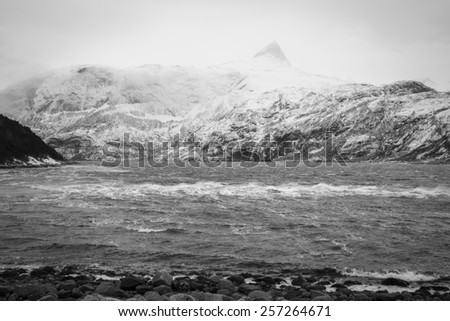 view of a Fjord in the winter wind, Elvfjorden Nordland Norway - stock photo