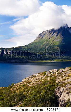 View of a fjord landscape in the north of Norway along the national heritage road kystriksvejen