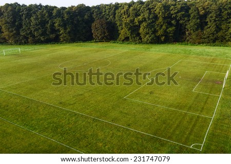 View of a football (soccer)  pitch from above  - stock photo