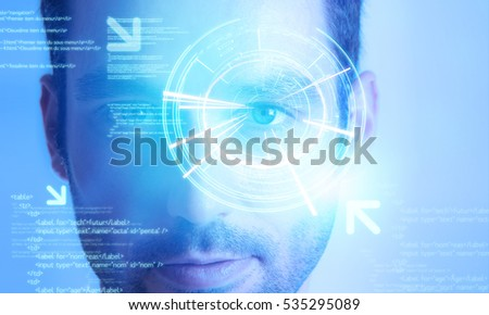 View of a Futuristic technology user interface with an user eye on the background