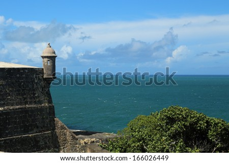 View of a garita from the El Morro fort in San Juan, Puerto Rico. - stock photo