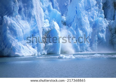 View of a glacial ice avalanche, Argentina