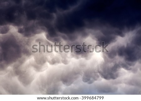View of a gray sky on spring day - stock photo