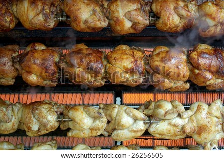 View of a grill machine full of chikens. - stock photo
