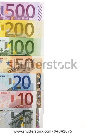 view of a group of all euro banknotes - stock photo