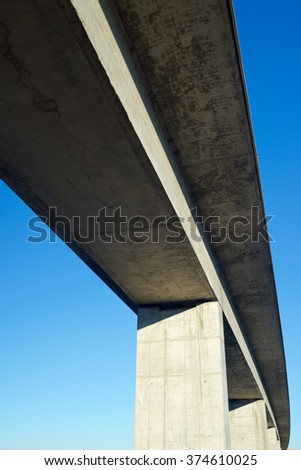 view of a high-speed viaduct in Roden, Zaragoza, Aragon, Spain. AVE Madrid Barcelona. - stock photo