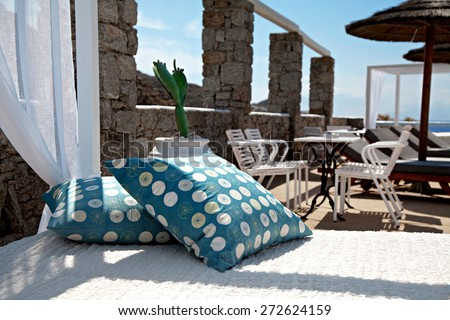 View of a hotel with close up in pillows - stock photo
