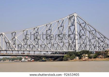 View of a Howrah Bidge in Kolkata India. - stock photo