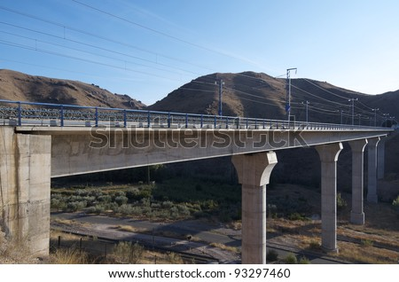 view of a huge concrete  viaduct for high-speed train, Spain