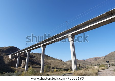 view of a huge concrete  viaduct for high-speed train, Spain - stock photo