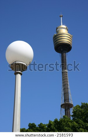 View of a lamppost and Sydney Tower