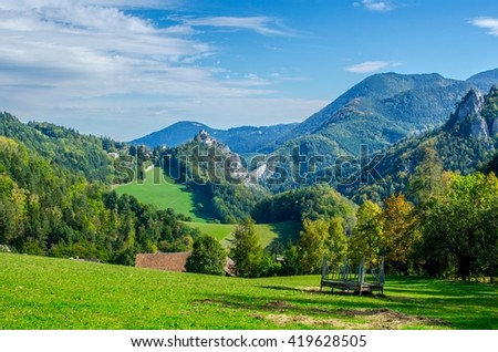 view of a landscape of austrian mountains stretched alongside of the semmeringbahn railway with klamm castle on background.