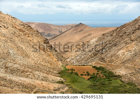 view of a landscape of Fuerteventura from Lookout Risco de las Penas, Canary Islands,  - stock photo