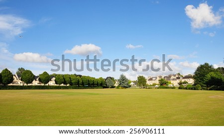 View of a  Landscaped Lawn in a Beautiful City Park - stock photo