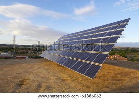 view of a large solar panel for renewable electric energy production