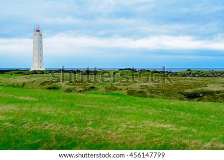 View of a lighthouse in the Snaefellsnes peninsula, west Iceland