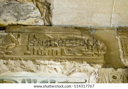View of a lintel at the Ancient Egyptian temple to Osiris at Abydos,  Egypt.  Carvings to the right of the mosquito are said to represent a helicopter, motorboat, spaceship and aeroplane.