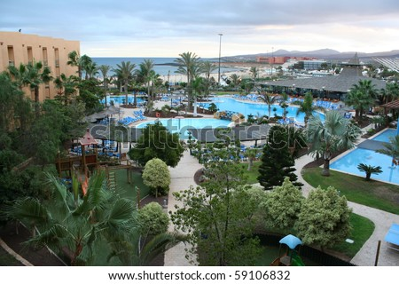 View of a Lovely Hotel (Fuerteventura, Canary Islands). - stock photo