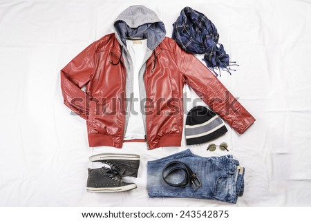 View of a male casual outfit. - stock photo