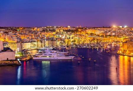 View of a marina near Valletta - Malta - stock photo