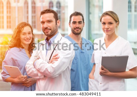 View of a Medical team working at the hospital all together