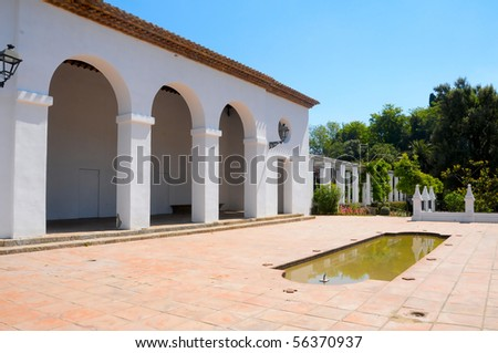 view of a mediterranean garden in Spain - stock photo