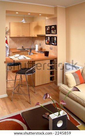 view of a modern apartment interior - stock photo