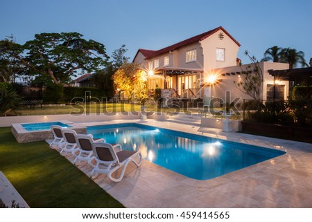 View Modern House Hotel Pool Side Stock Photo 459414559 Shutterstock