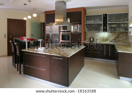 View of a modern kitchen - stock photo