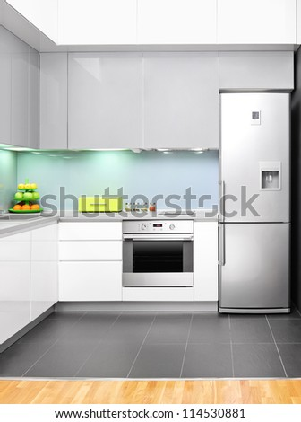 View of a modern kitchen interior - stock photo