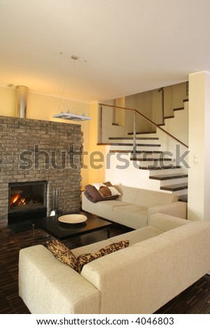 View of a modern living room. - stock photo