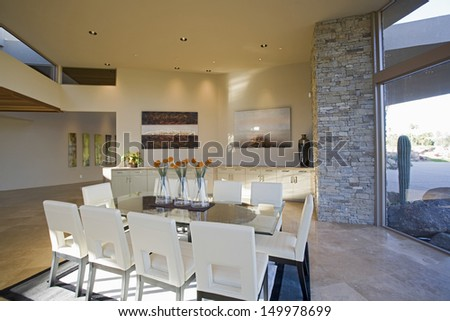 View of a modern sunlit dining room o spacious house