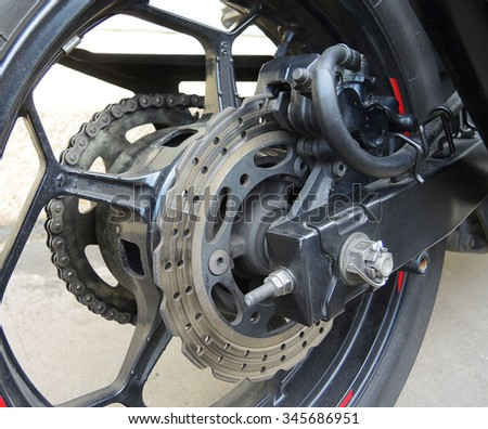view of a motorcycle  back wheel and brake disc