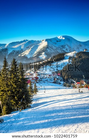 View of a mountain slope in winter season, Romania