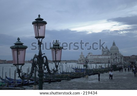 View of a pier at dusk, Venice, Italy