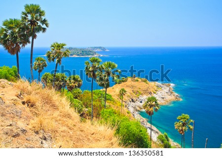 View of a Promthep cape. Phuket island, Thailand - stock photo