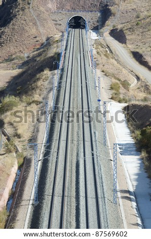 view of a railway line from above - stock photo